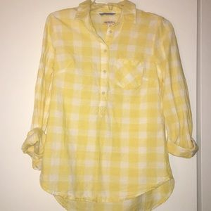 Yellow and white plaid shirt